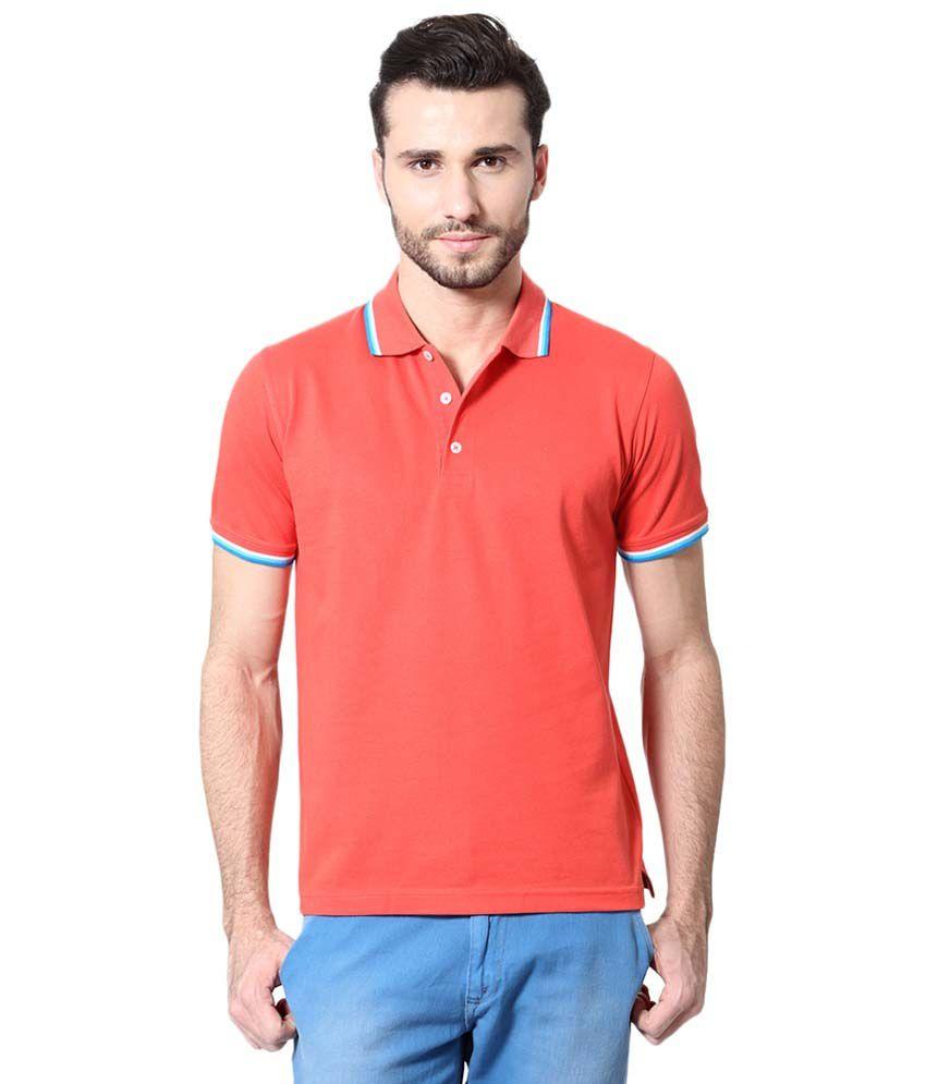 Peter England Orange Basics Polo T Shirt