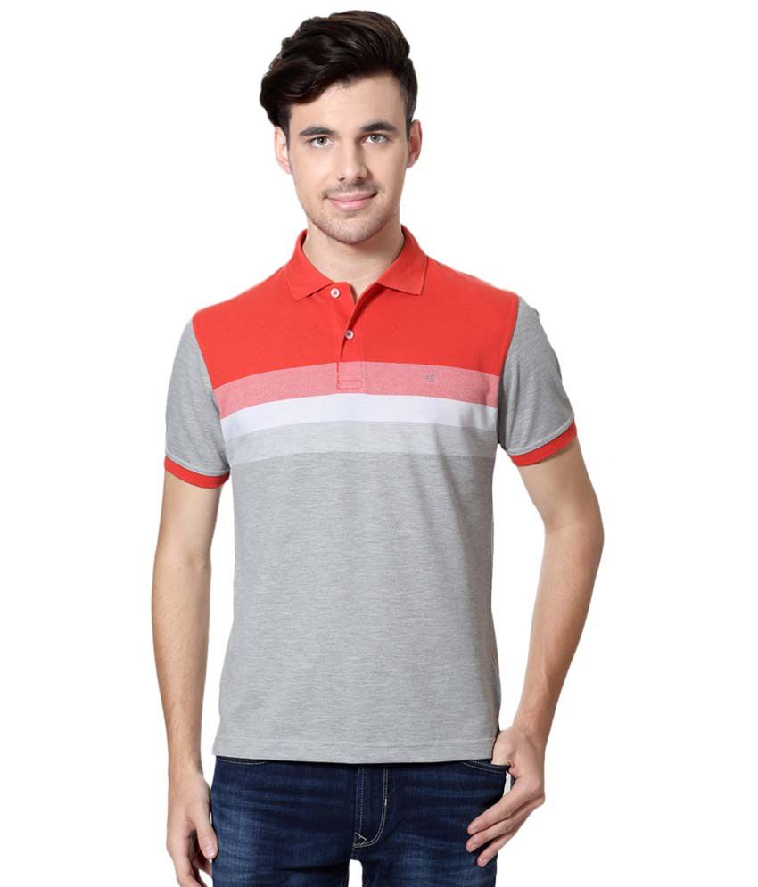 Peter England Red & Gray Casual T Shirt