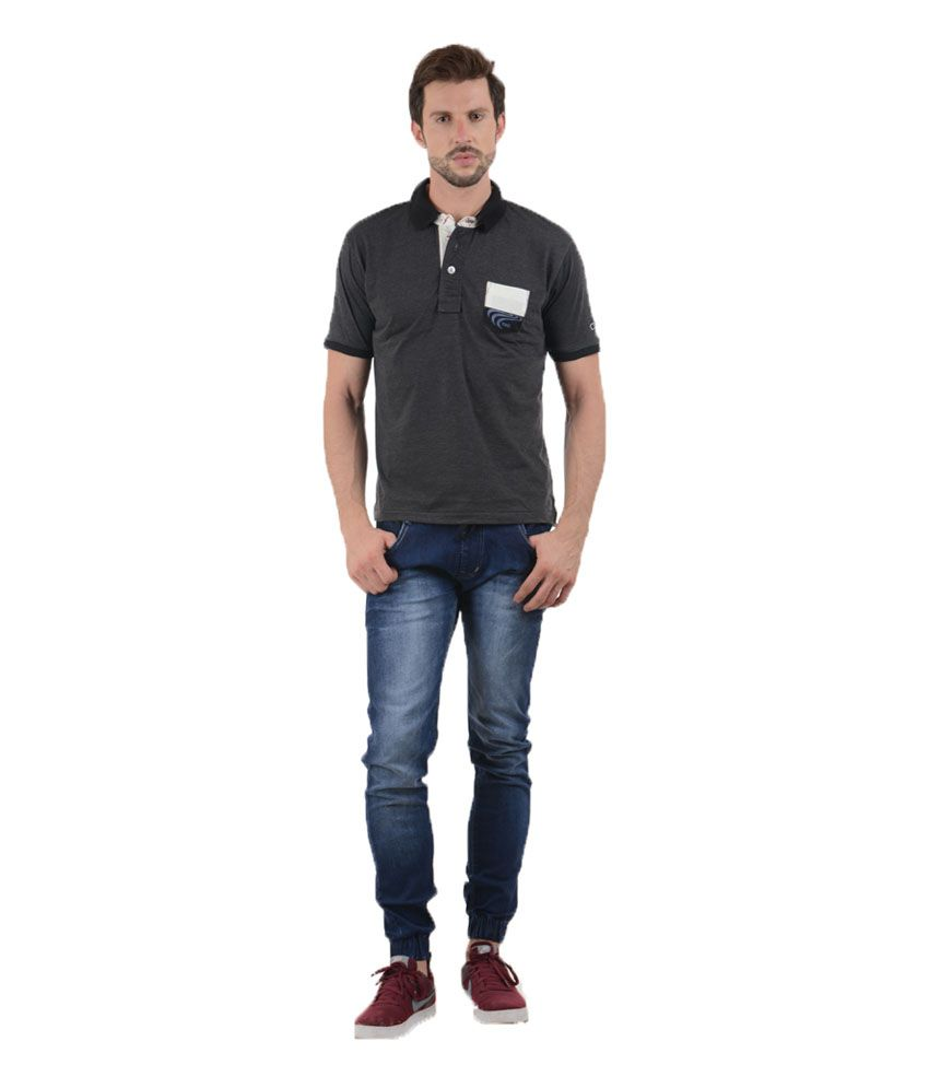 Tmo Black Half Sleeves Basics Wear Polo T-shirt