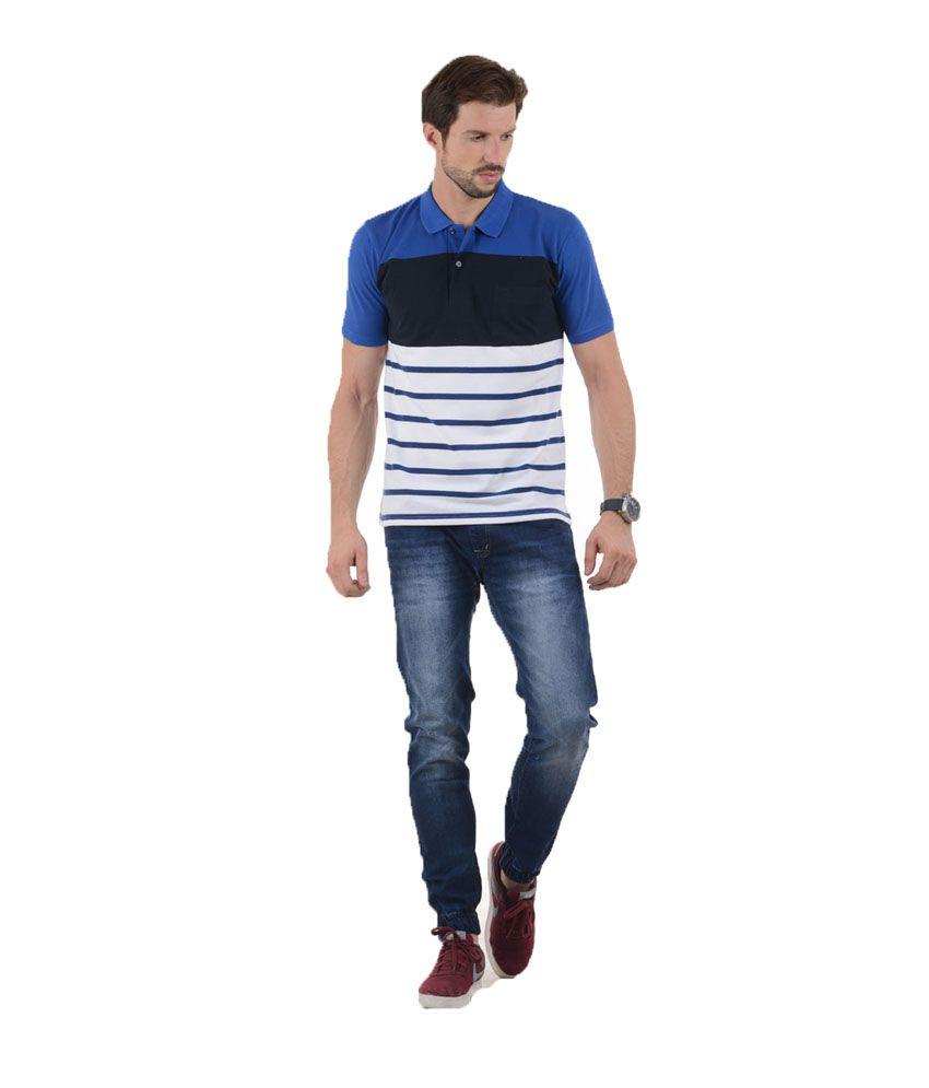 Tmo Blue Half Sleeves Stripers Wear Polo T-shirt