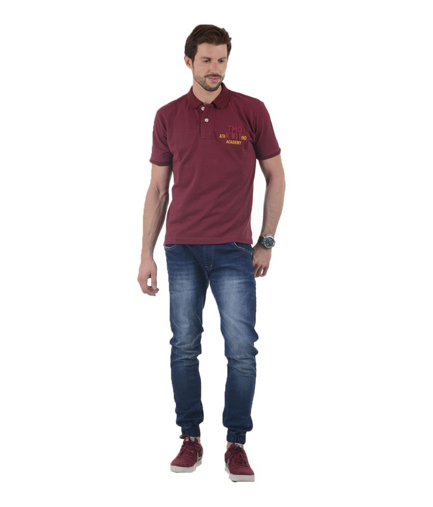 Tmo Maroon Half Sleeves Basics Wear Polo T-shirt