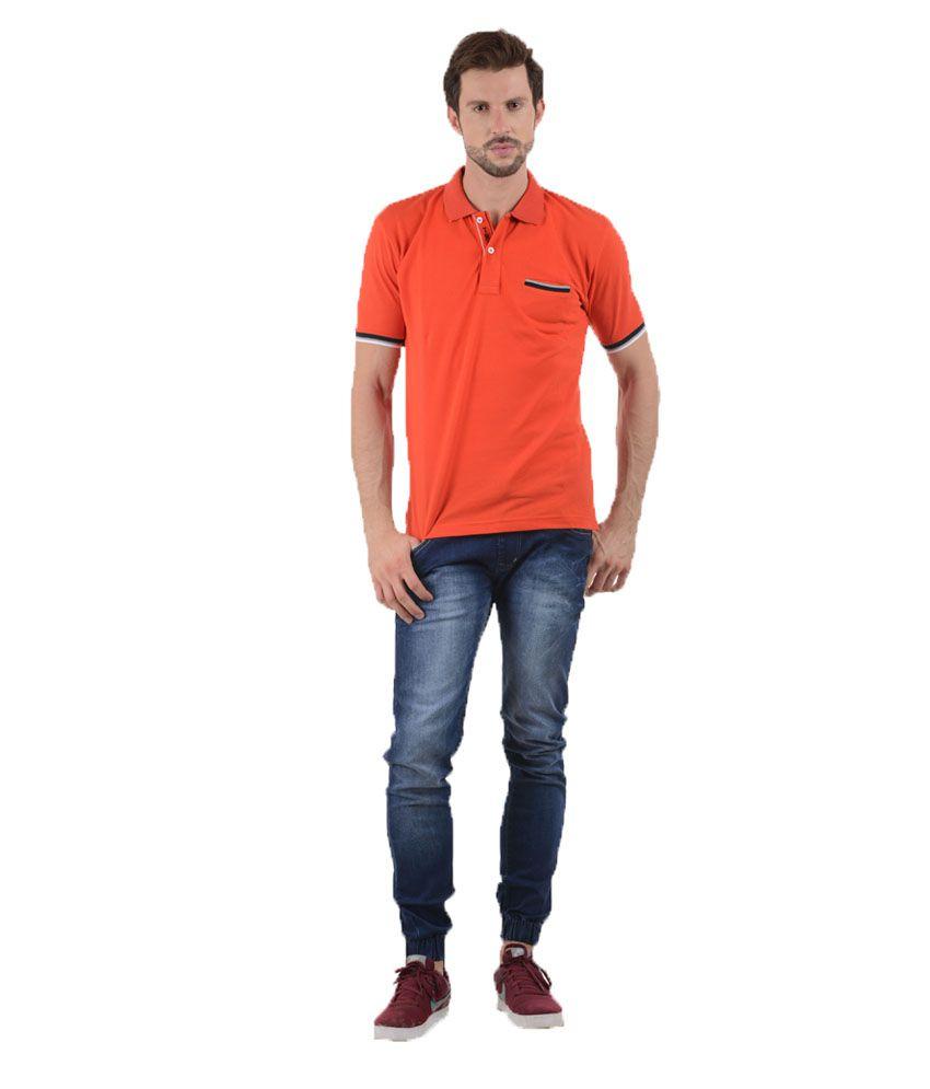 Tmo Orange Half Sleeves Basics Wear Polo T-shirt
