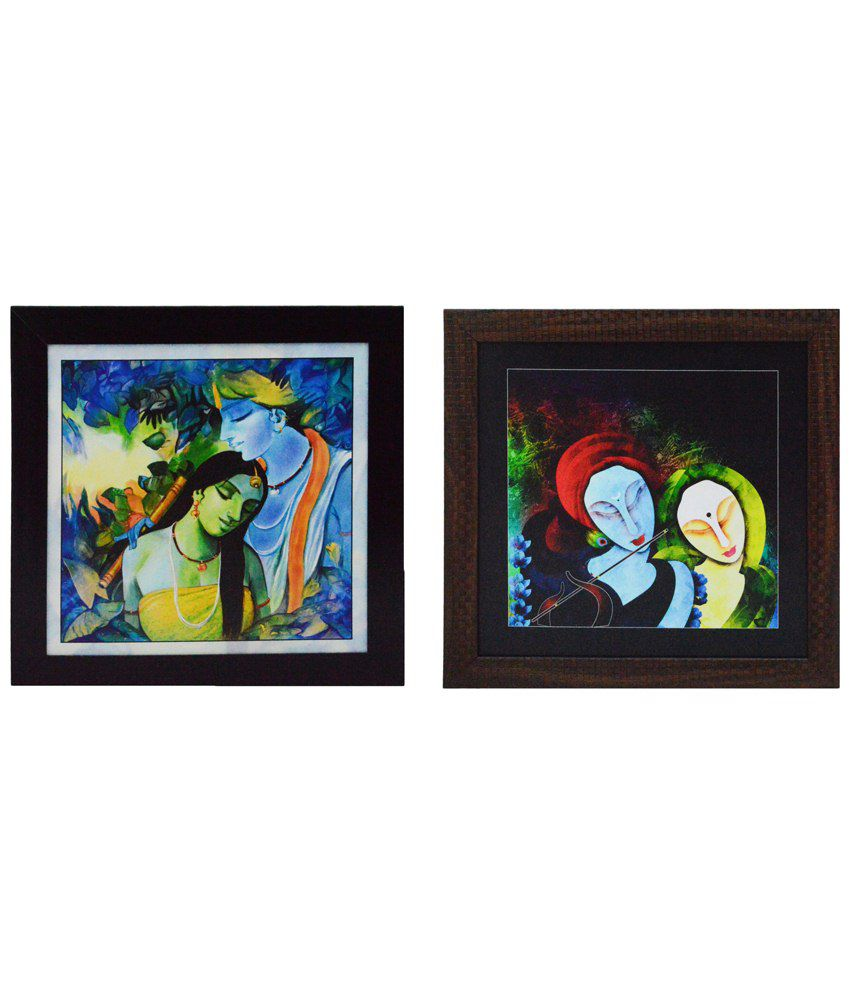 eCraftIndia Exquisite Multicoloured Pack of 2 Framed UV Art Print Paintings