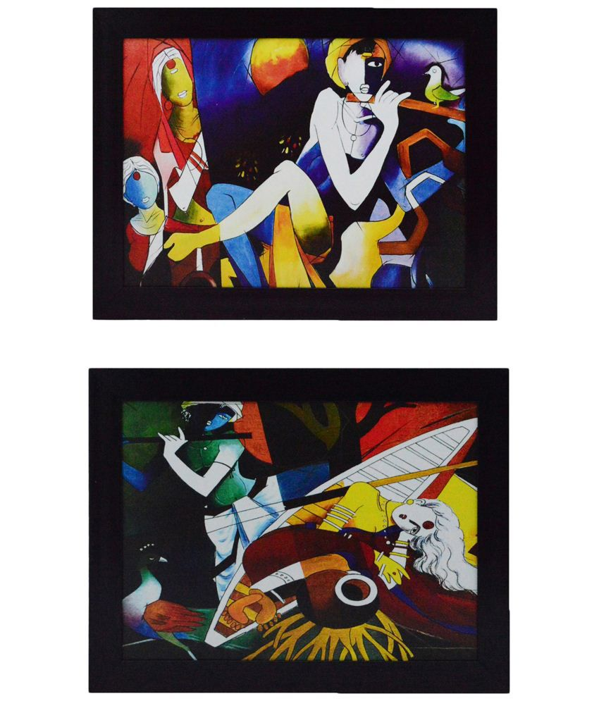 eCraftIndia Sturdy Multicoloured Pack of 2 Framed UV Art Print Paintings