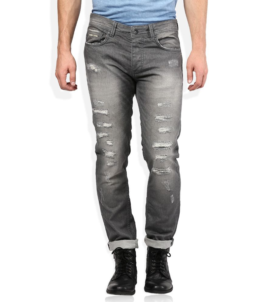 Being Human Grey Distressed Regular Fit Jeans