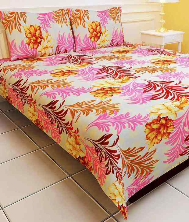 ENOGME Multicolor Floral Polyester Double Bed Sheet With 2 Pillow Cover