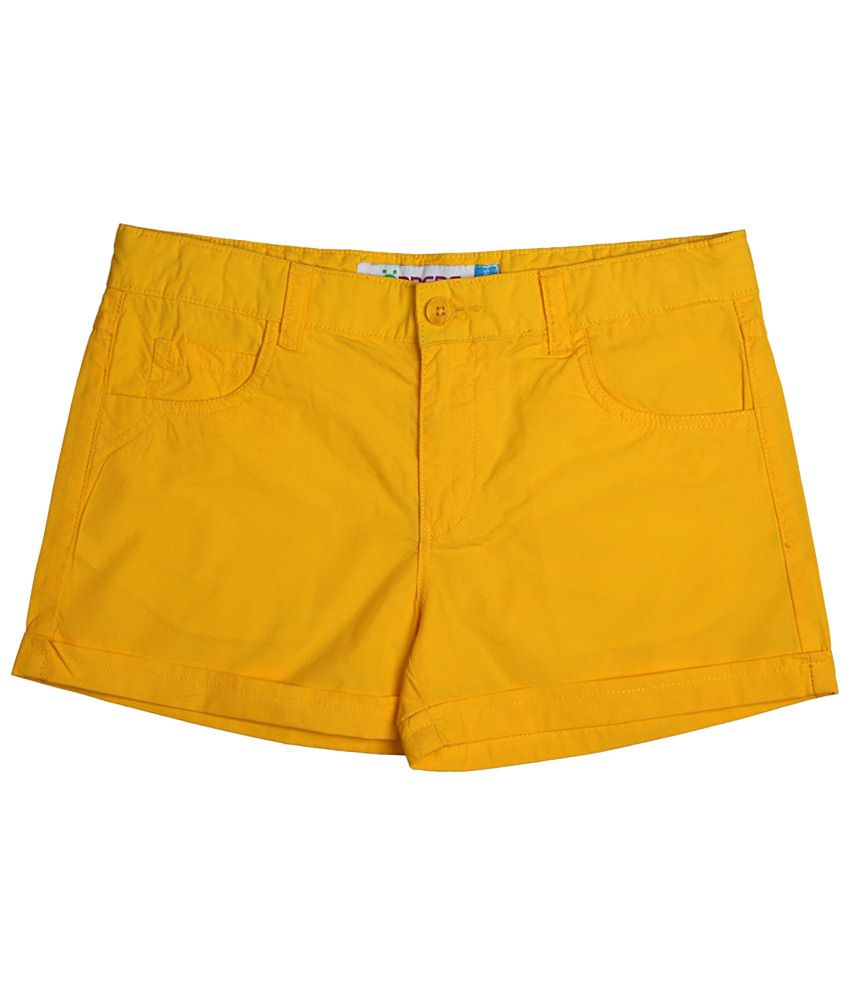 Poppers by Pantaloons Yellow Solid Shorts