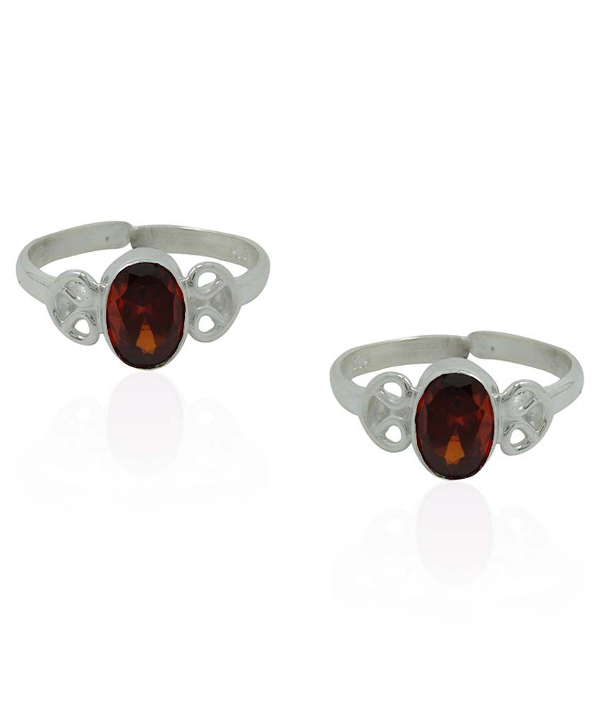 Frabjous Red German Silver Toe Rings - Set Of 2