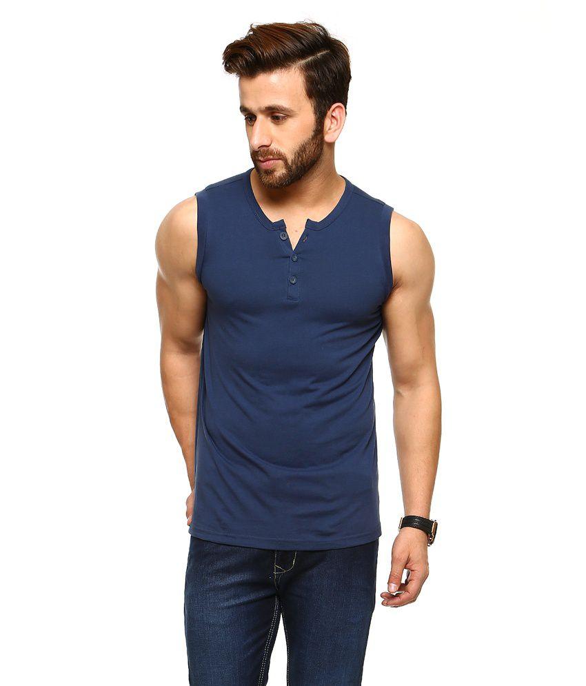 Gritstones Blue Sleeveless Sleeves Basic Polo T Shirt