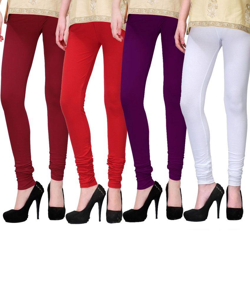 Famaya Cotton Leggings For Girls Set Of 4