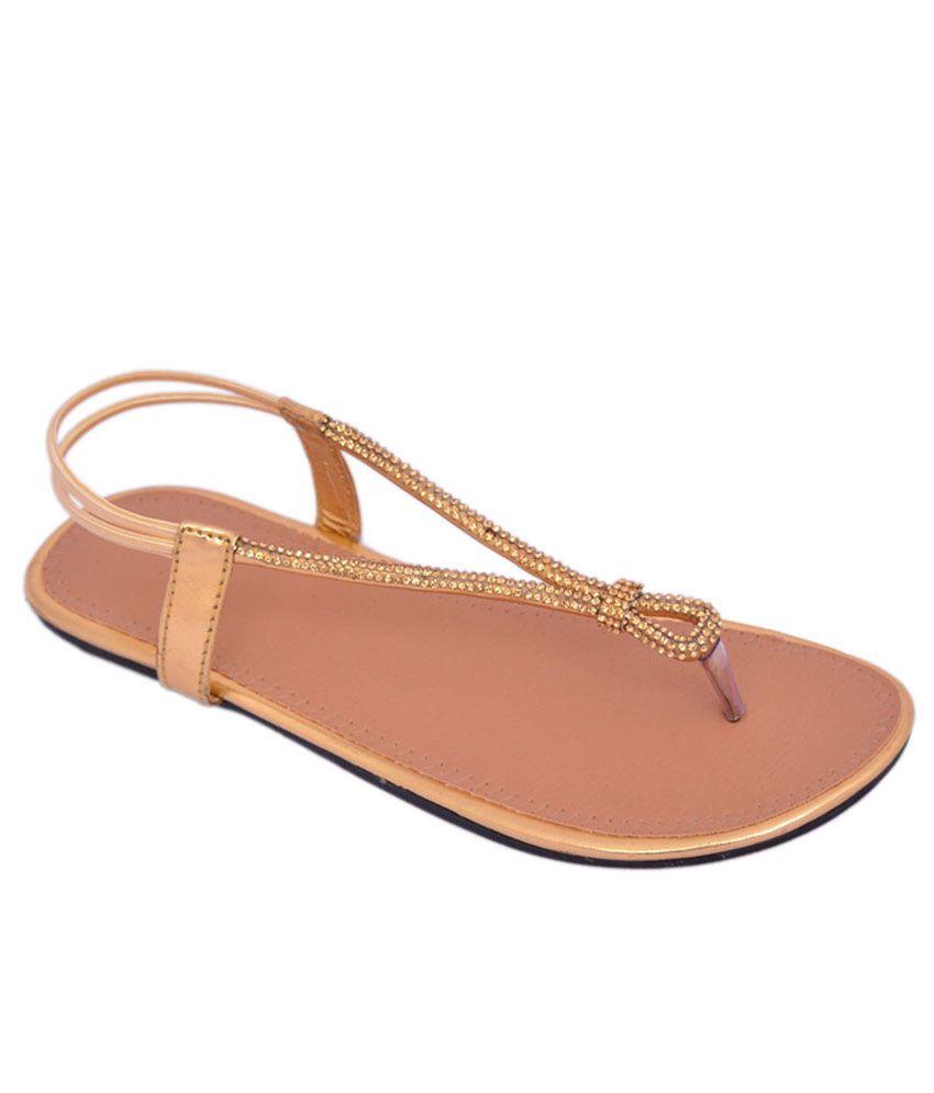 Myra Gold Flat Sandals