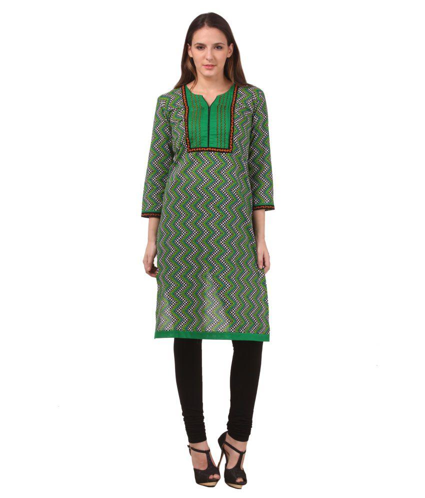 Naimah Green Cotton Kurti