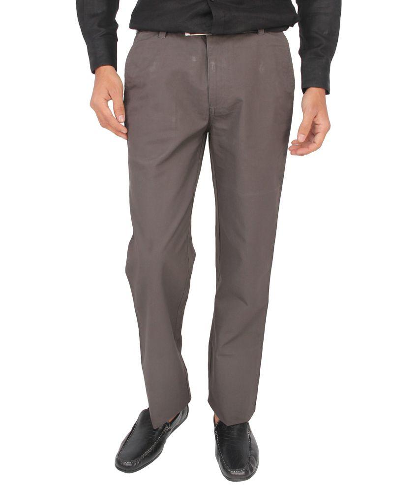 Stori Gray Regular Fit Formal Flat Trouser