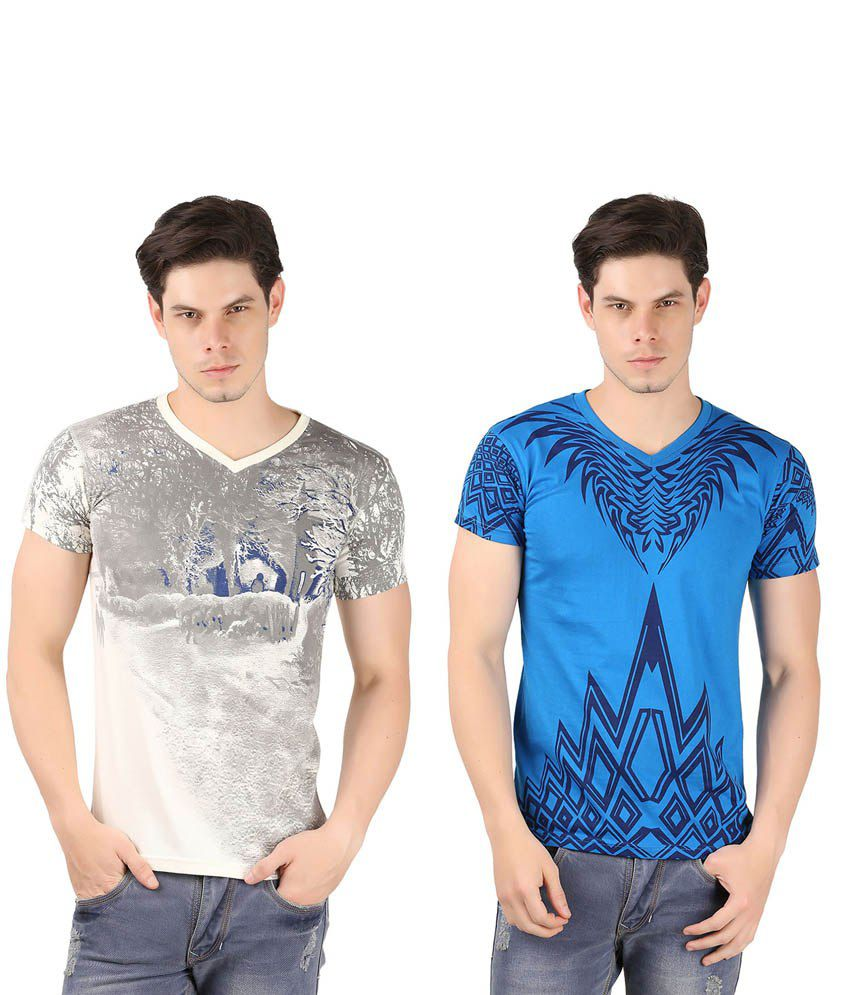 A1 Tees Multicolor Cotton Blend T-Shirt - Pack Of 2