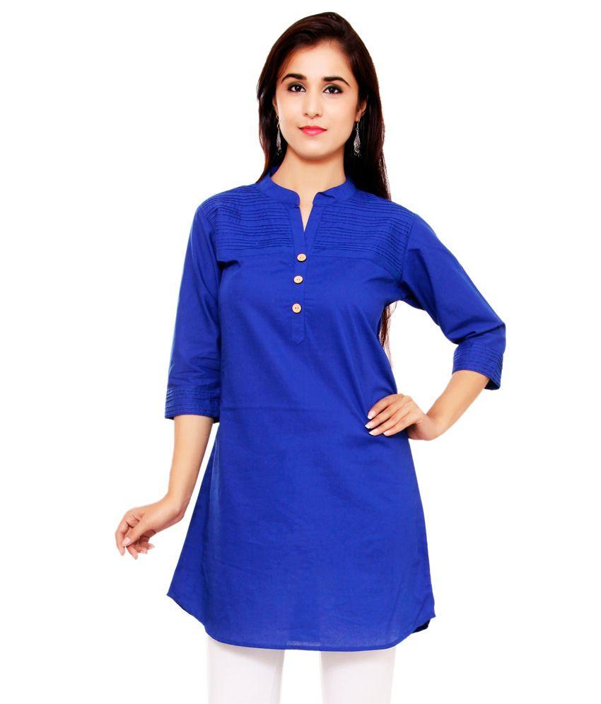 Indian Virasat Blue Cotton Tunics
