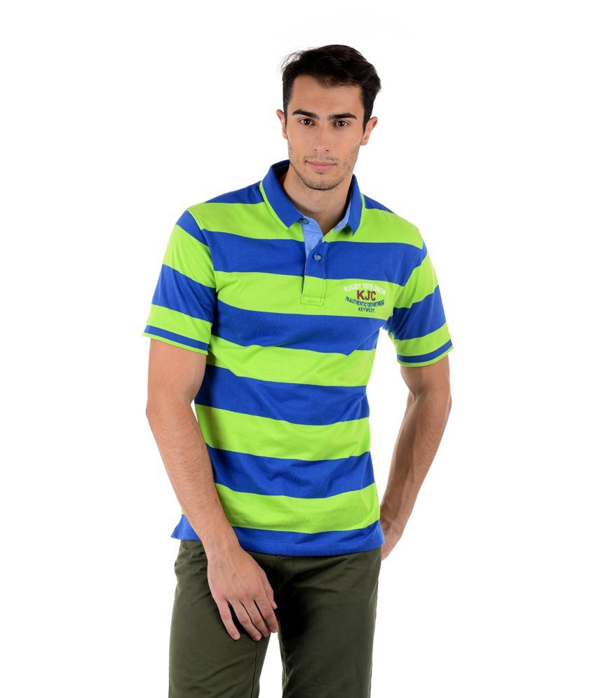 Keywest Multicolour Half Stripes Polo T-shirt