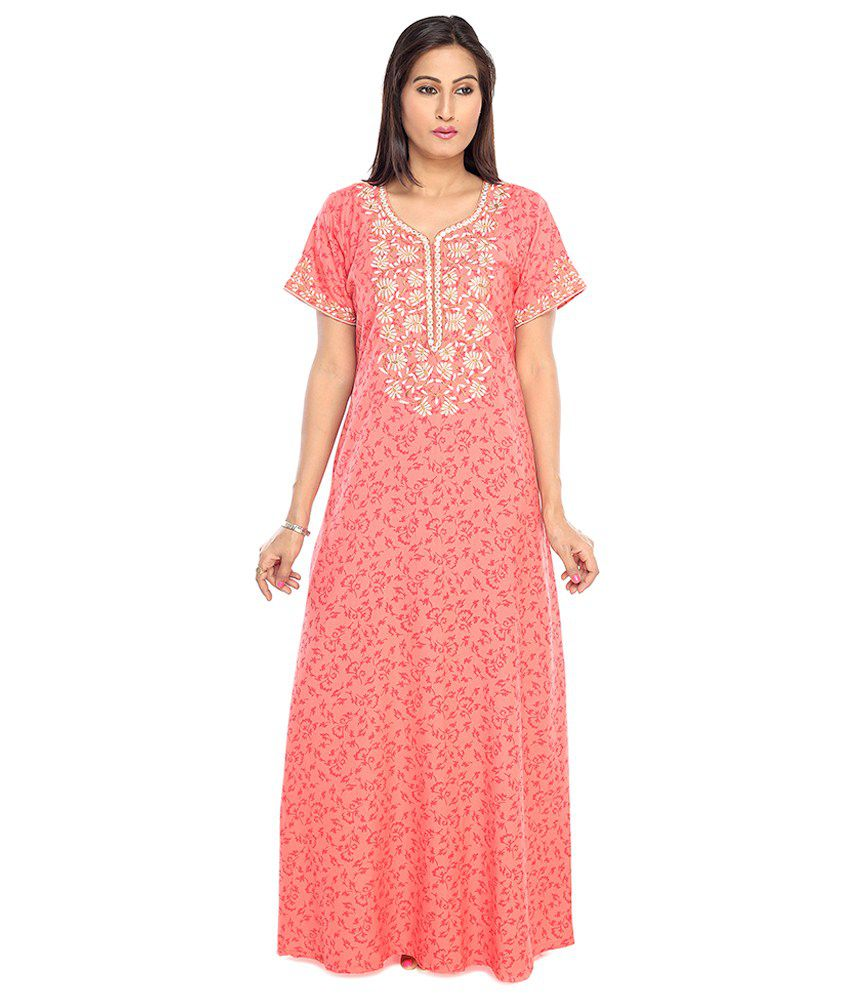7a02fb7b82 Buy SANA Pink Cotton Nighty Embroidered Half Sleeves Non Transparent Floral  Printed Nighty With Pocket Online at Best Prices in India - Snapdeal