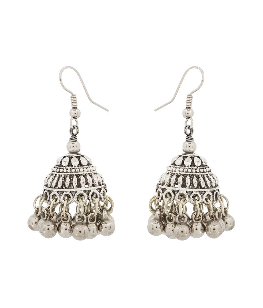 The Luxor Floral Coloured Bead Silver Alloy Jhumkis