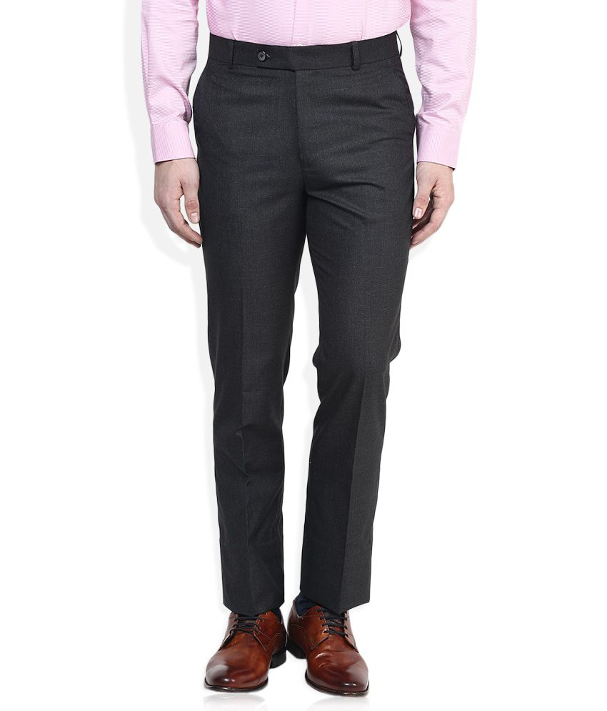 Vivaldi Grey Solid Flat Front Trousers
