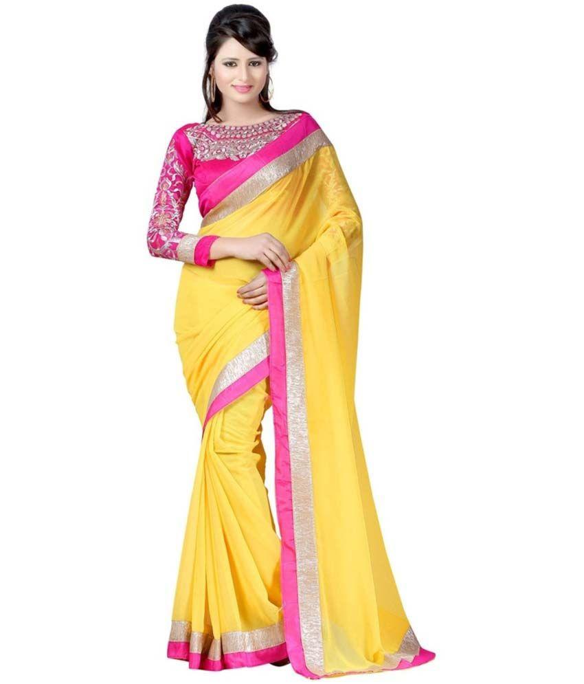 Bollywood Designer Yellow Chiffon Saree - Buy Bollywood ...