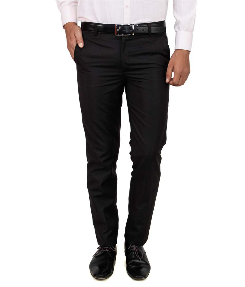 Comfortline Black Regular Fit Formal Trouser