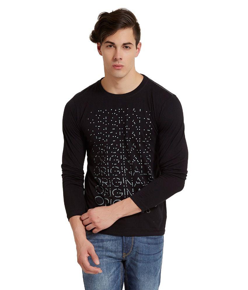 Elaborado Black Cotton Full Sleeves T Shirt