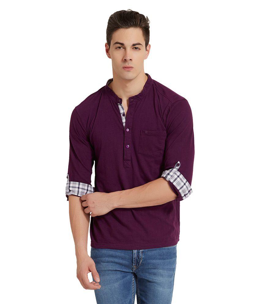 Elaborado Purple Cotton Full Sleeves T Shirt