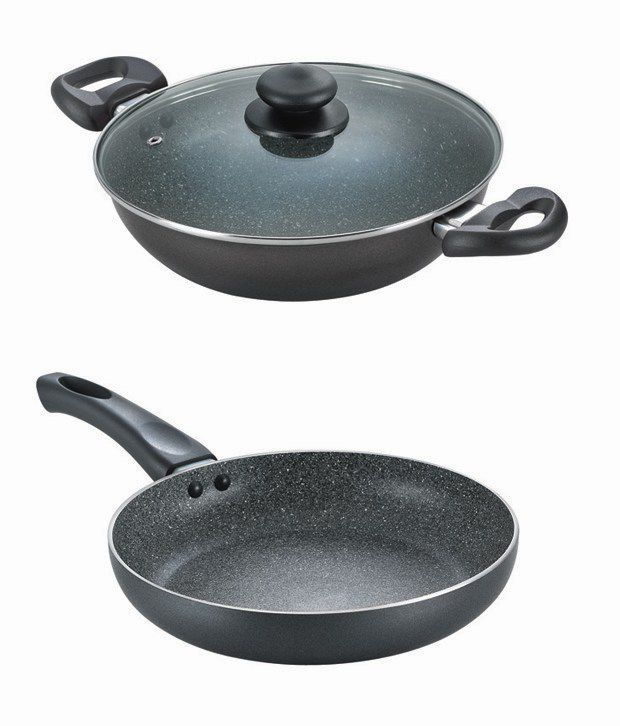 Prestige Omega Granite Set Of Kadai 240 Mm Fry Pan 240