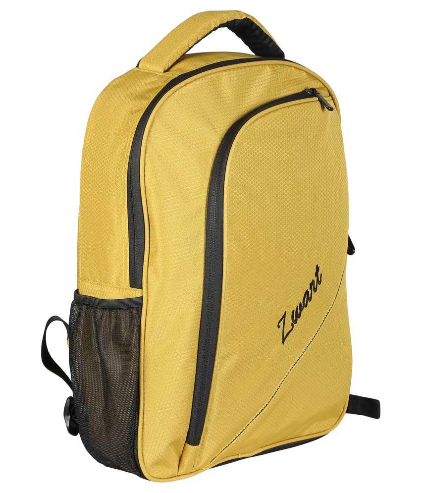 Zwart Yellow Polyester Laptop Backpack