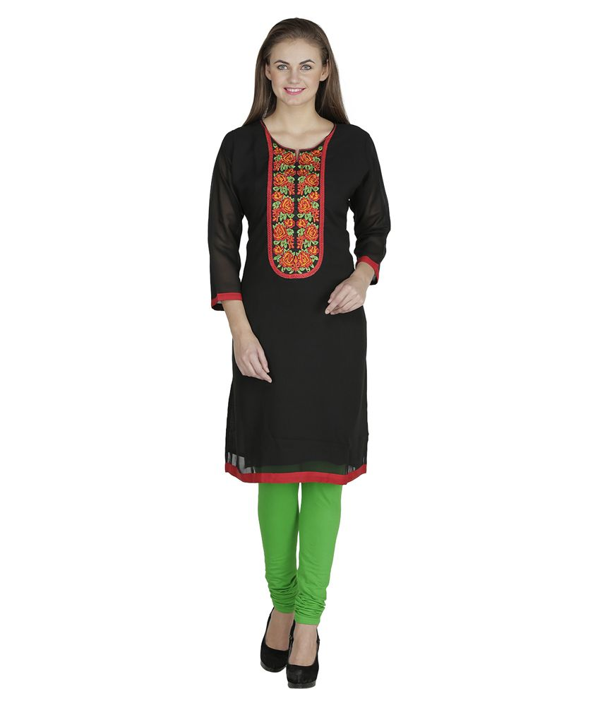 Adwear Fashion Black Pure Georgette  Kurti