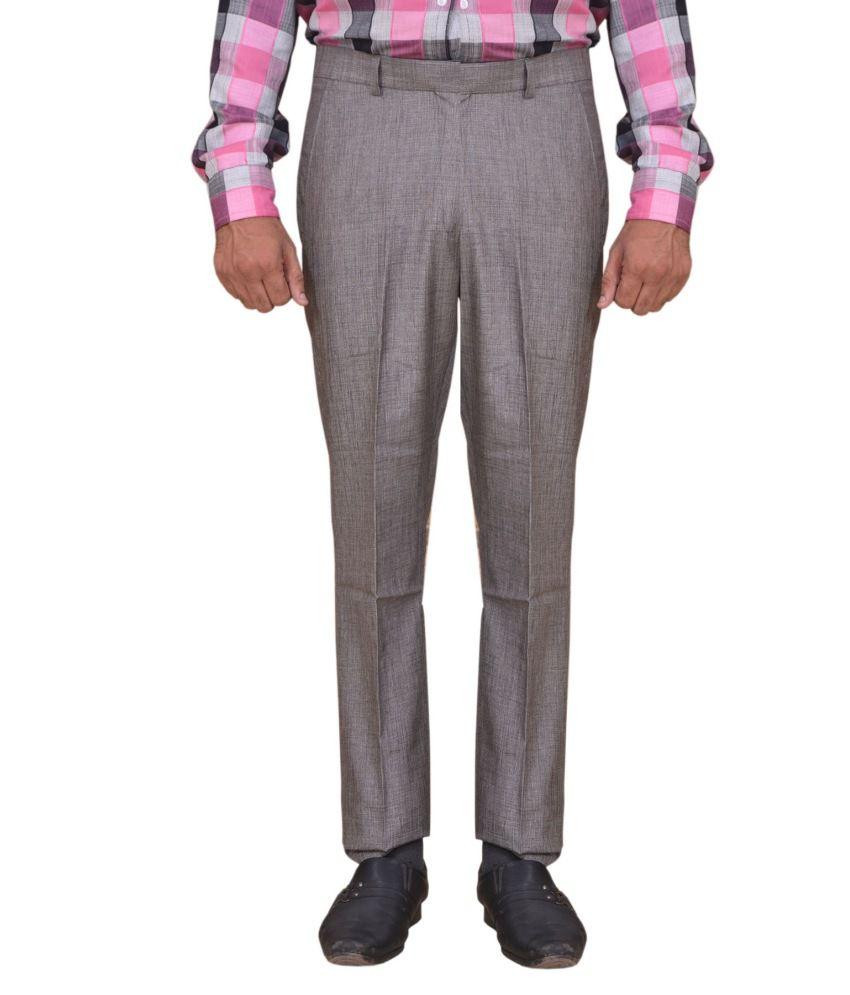 Dass Enterprises Grey Regular Fit Formal Pleated Trouser