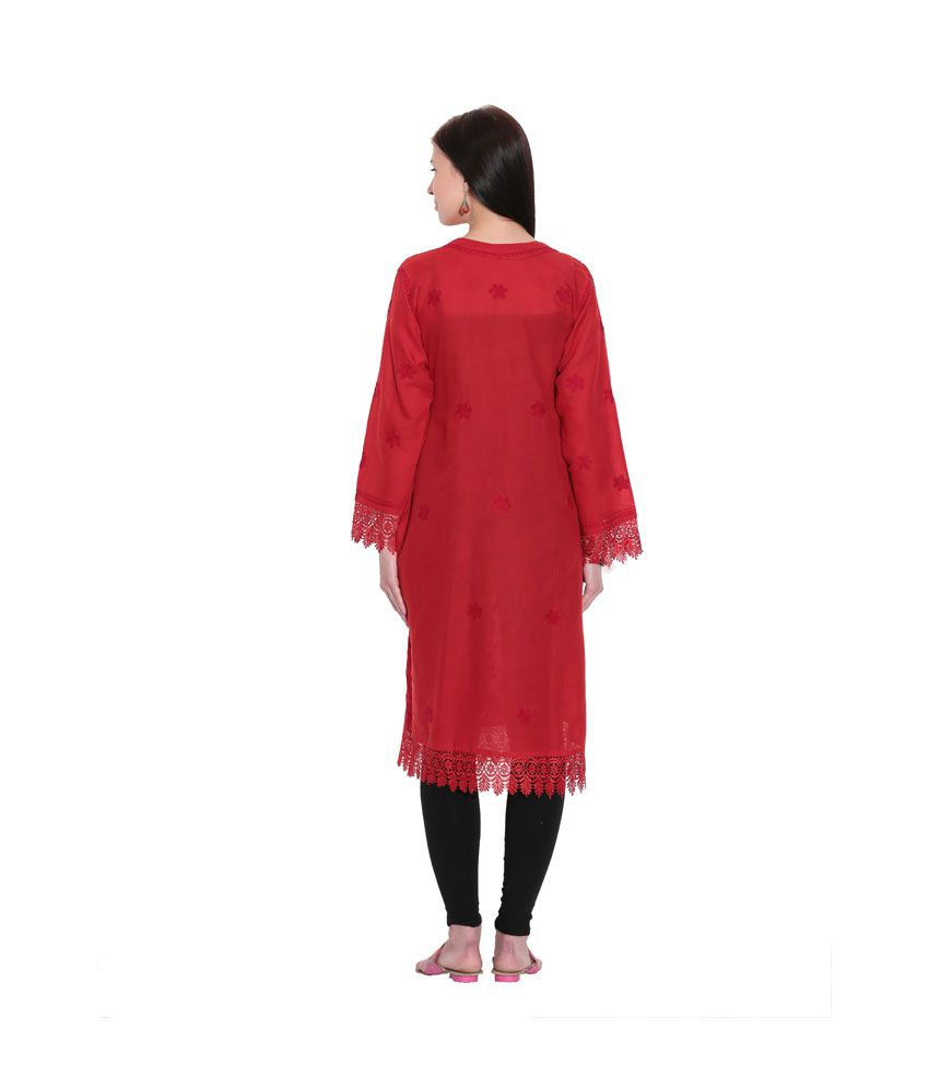 f578593bbd ... Indian Handicraft Standards Red Lucknowi Chikan Cotton Hand Embroidered  Kurti ...