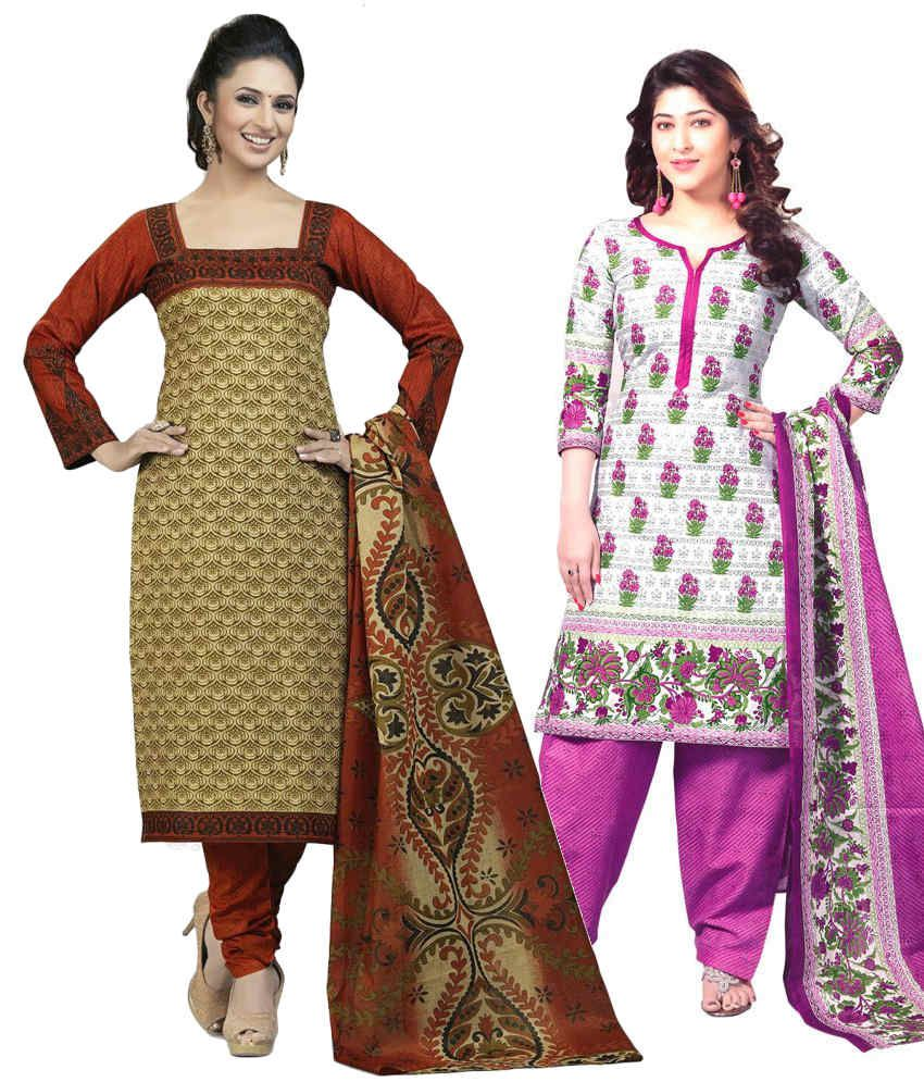 Mega Cotton Combo of Beige and White Cotton Unstitched Dress Materials (Set of 2)