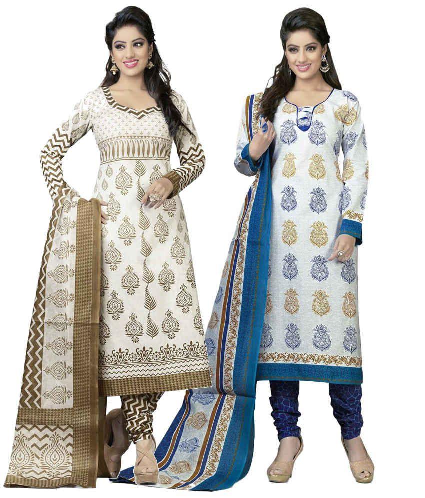 Mega Cotton Combo of White Cotton Unstitched Dress Materials (Set of 2)