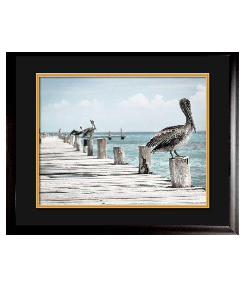 Mataye Graphics Birds on Beach Side Designer Painting with Frame