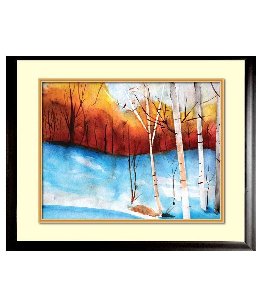 Mataye Graphics Forest Designer Nature Painting with Frame