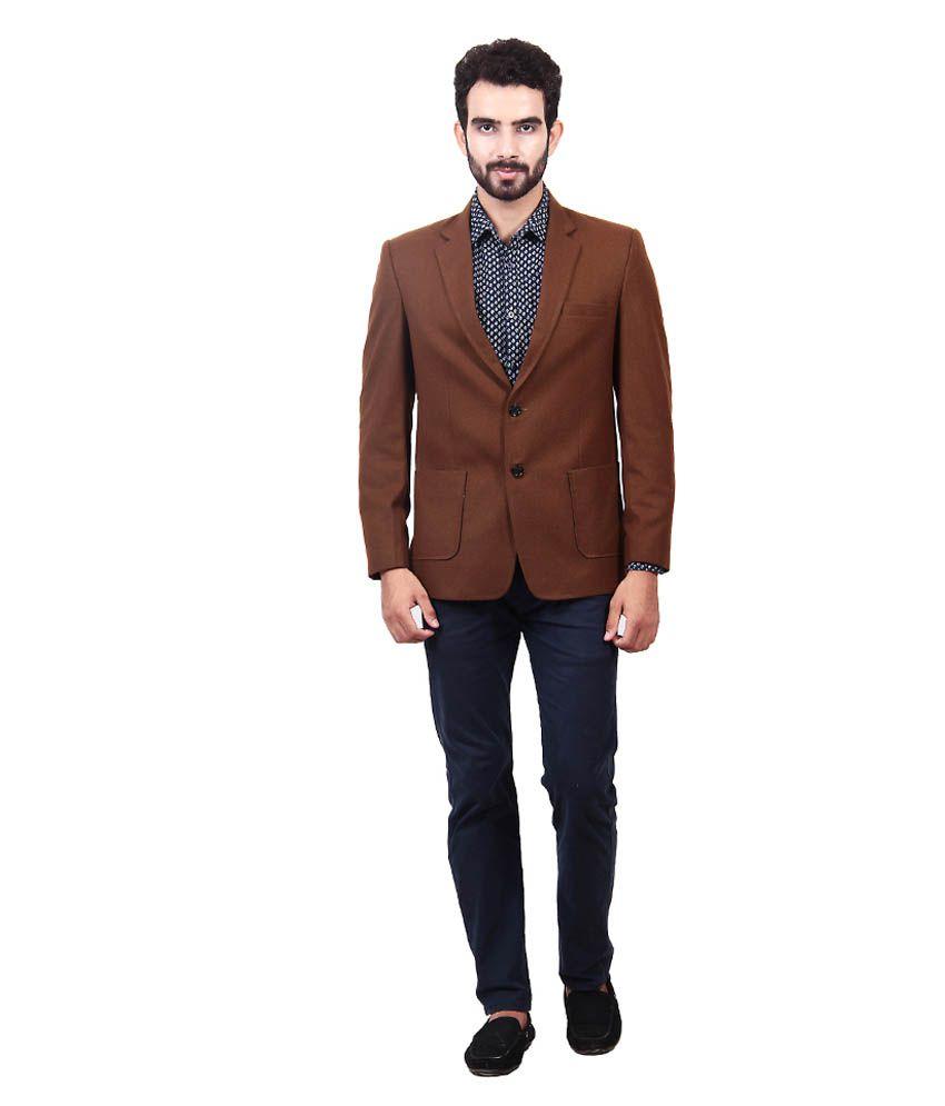 Saara Fashions Brown Cotton Blend Casual Blazer