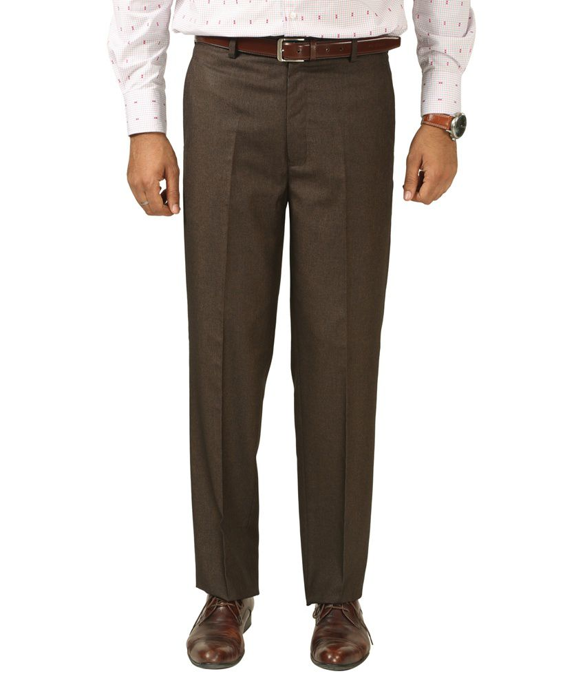 7 Colours Brown Poly Viscose Regular Fit Formal Trouser