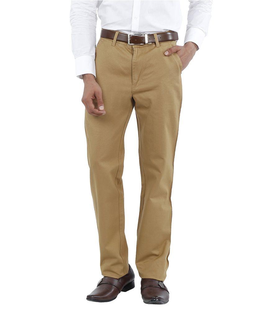 Canoe Beige Slim Fit Formal Flat Trousers