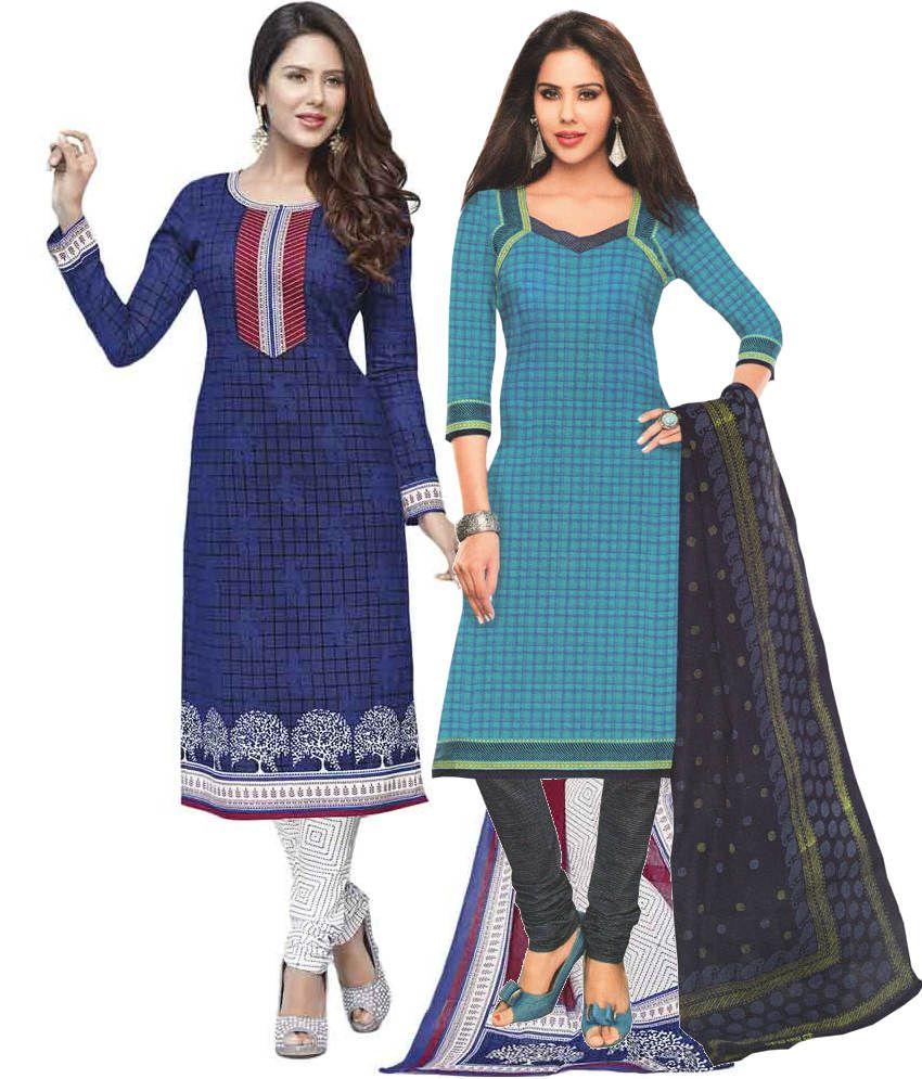 Javuli Combo of Blue  Unstitched Dress Materials Set Of 2