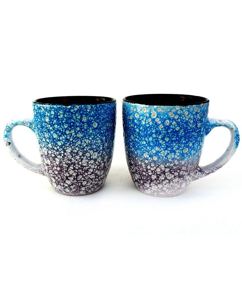 Jocular Multicolor Marble Mugs - Set Of 2