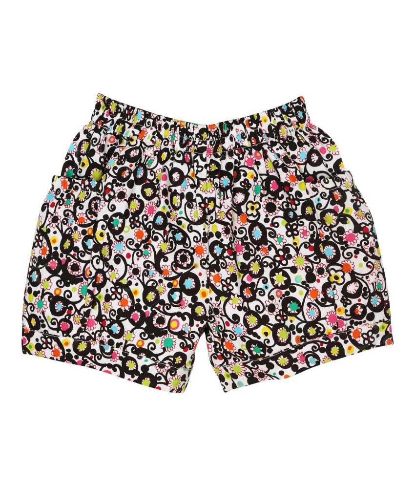Oyez Black and Yellow Cotton Shorts