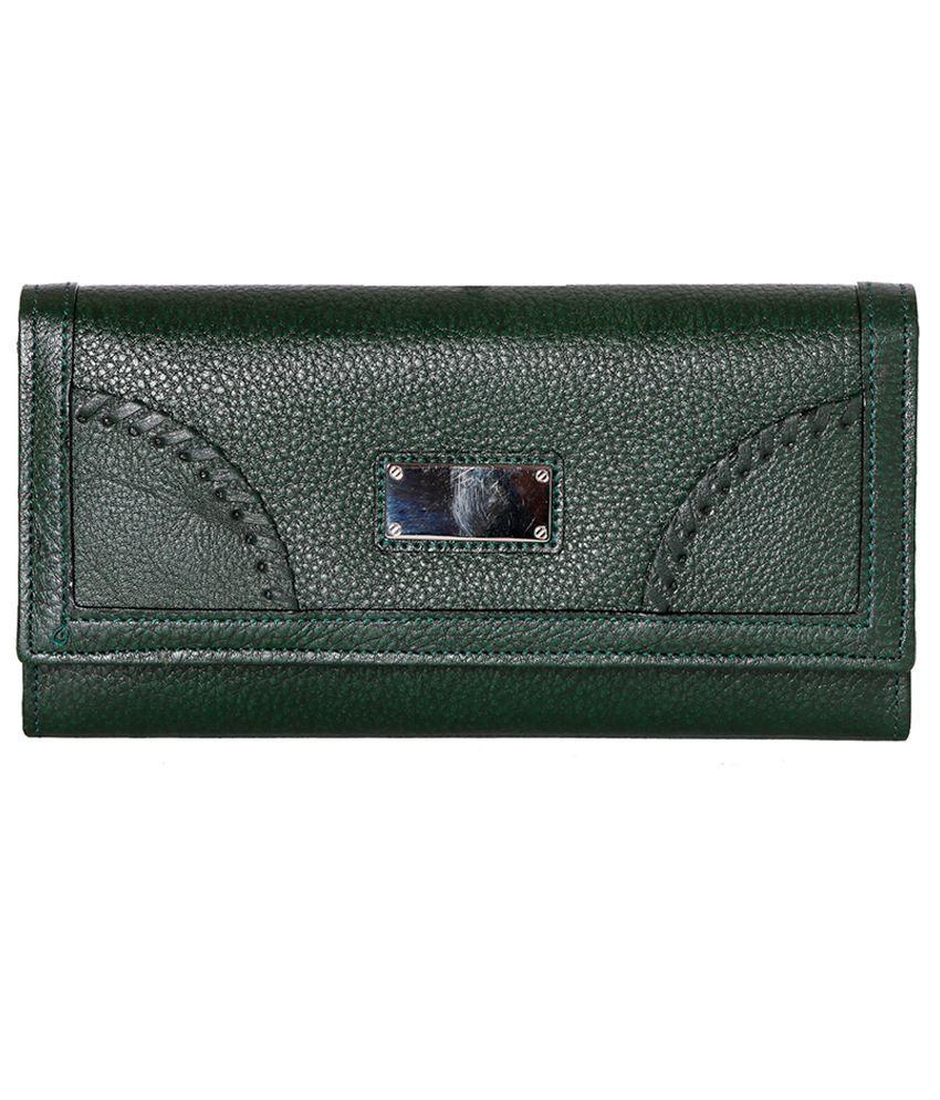 Rle Leather Green Women Regular Wallet