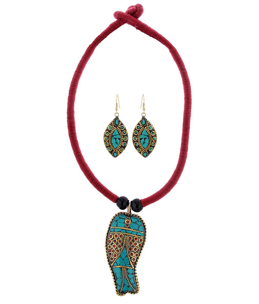 Slice Of Bengal Multicolor Gold Plated Traditional Necklace Set