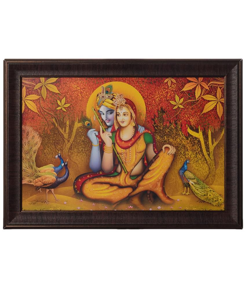 eCraftIndia Appealing Orange & Yellow Radha Krishna Satin Framed UV Art Print Painting