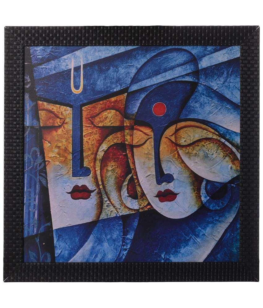 eCraftIndia Blue Radha Krishna Satin Framed UV Art Print Painting