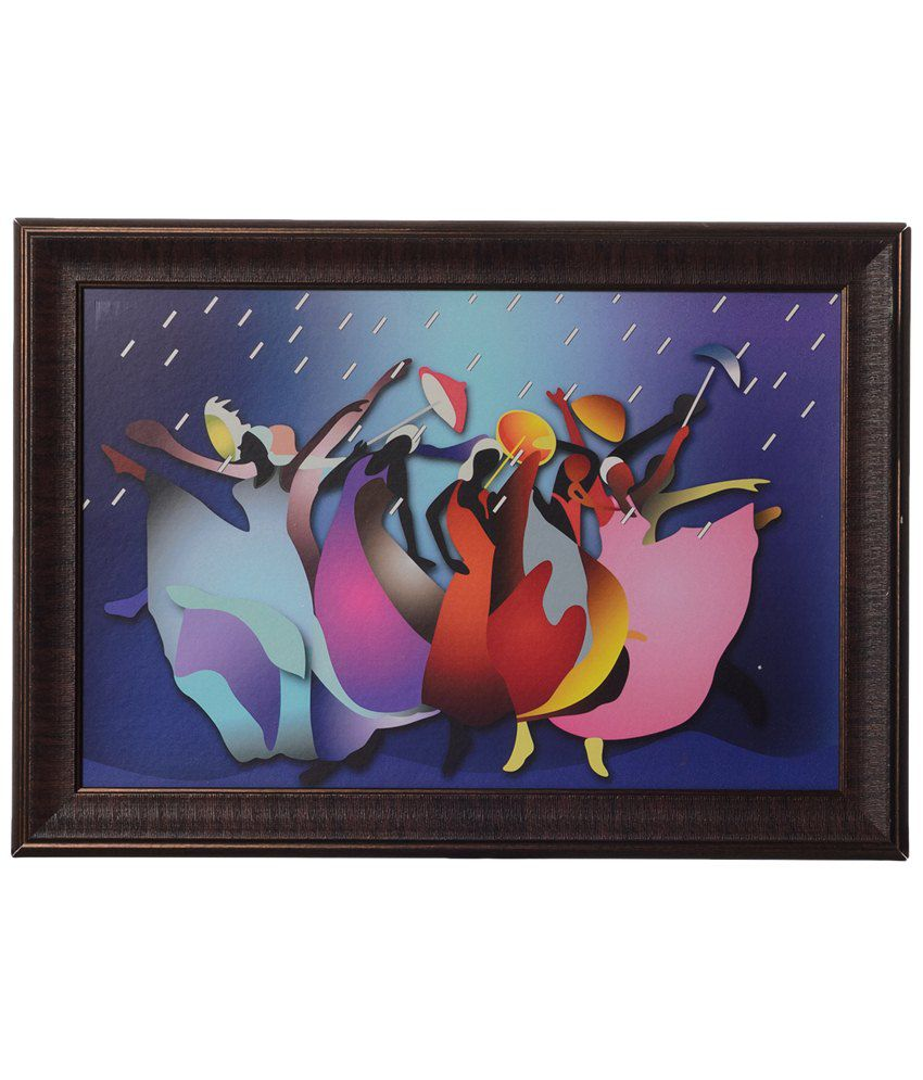 eCraftIndia Pack of 3 Multicoloured Dancing Girls in Rain Satin Framed UV Art Print Painting