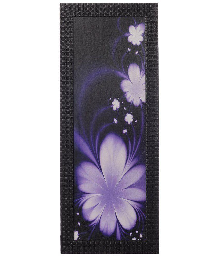 eCraftIndia Purple & White Floral Satin Framed UV Art Print Painting