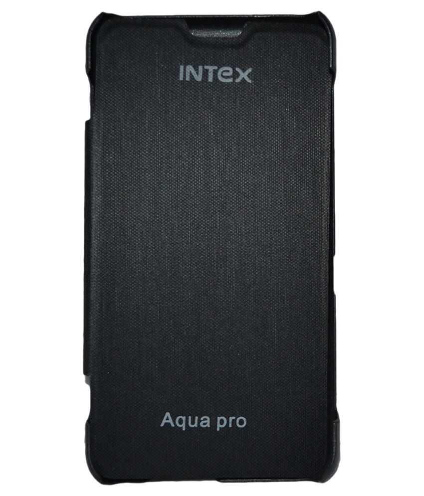 Cell First Flip Cover for Intex Aqua Pro- Black