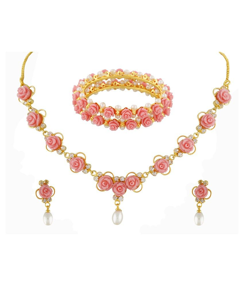 Janki Jewellers Pink Alloy Necklace Set With Bangle